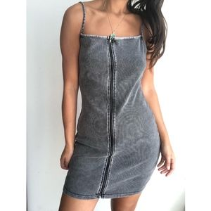 H&M exposed front zip camisole stretch dress